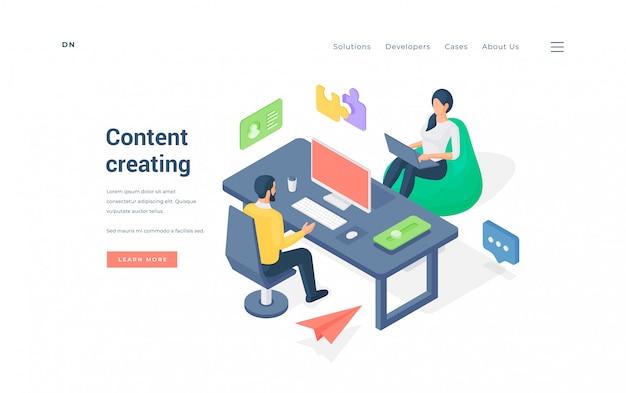 Trabajadores de oficina creando contenido juntos ilustración