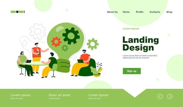 Trabajadores de oficina creativos discutiendo ideas en la página de inicio del equipo en estilo plano