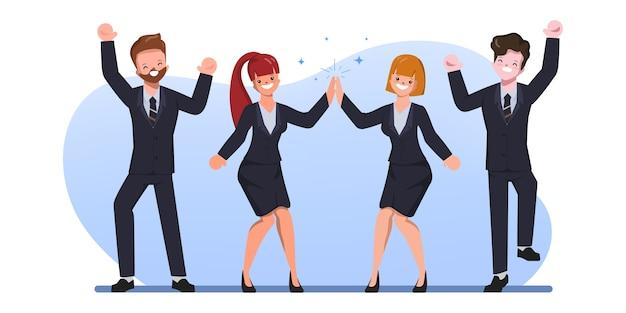 Trabajadores de oficina feliz personaje gente ilustración plana. celebración alegre de los empleados corporativos.