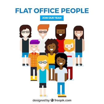 Trabajadores de oficina profesionales con diseño plano
