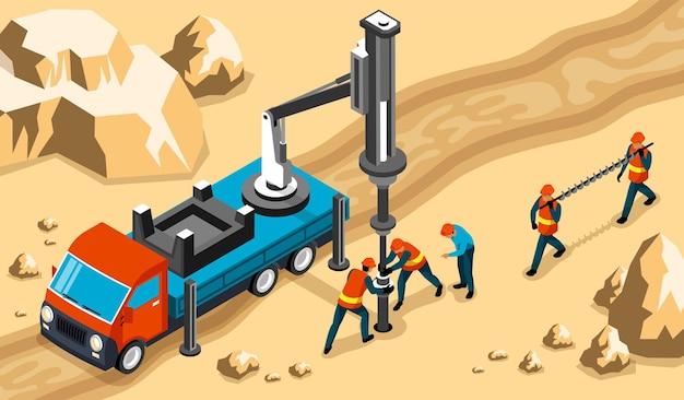 Trabajadores de perforación ingenieros que operan maquinaria pesada de plataforma montada en camión para perforar en la composición isométrica de la roca