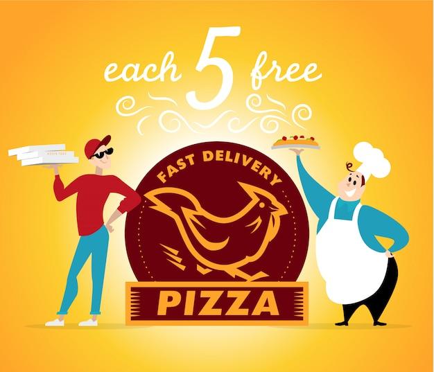 Trabajadores de pizza de pie. ilustración.