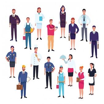 Trabajadores profesionales dibujos animados del día del trabajo