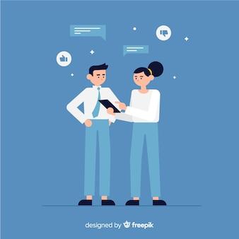 Trabajadores profesionales de oficina con diseño plano