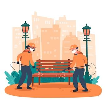 Trabajadores que prestan servicio de limpieza