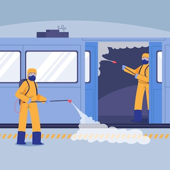 Trabajadores que prestan servicios de limpieza en espacios públicos.