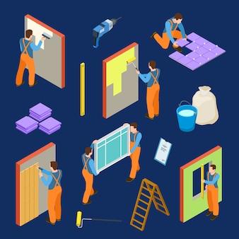 Trabajadores de reparación y herramientas isométricas