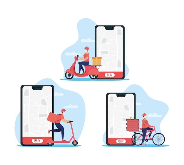Trabajadores de reparto con mascarillas en vehículos con teléfono inteligente