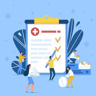 Trabajadores de la salud que realizan nuevas pruebas de medicación