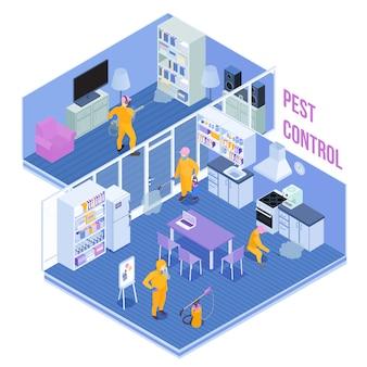 Trabajadores del servicio de control de plagas durante el procesamiento sanitario de la ilustración de vector isométrica de cocina y sala de estar