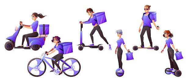 Trabajadores del servicio de entrega que viajan en transporte eléctrico