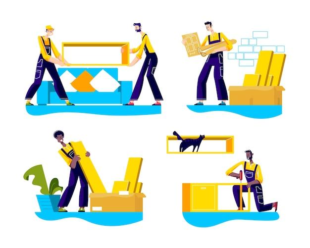 Trabajadores del servicio de montaje de muebles cargando e instalando nuevos elementos de mobiliario.