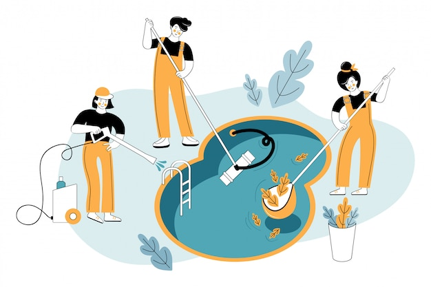 Los trabajadores del servicio de piscinas limpian la piscina de la casa