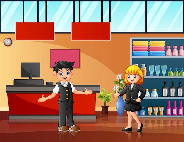 Los trabajadores del supermercado en la ilustración del cajero.