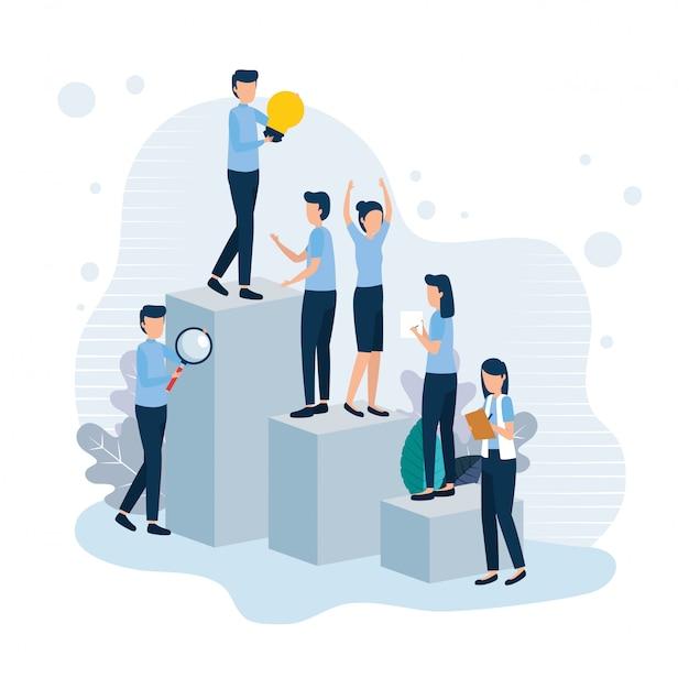 Trabajadores de trabajo en equipo en infografía