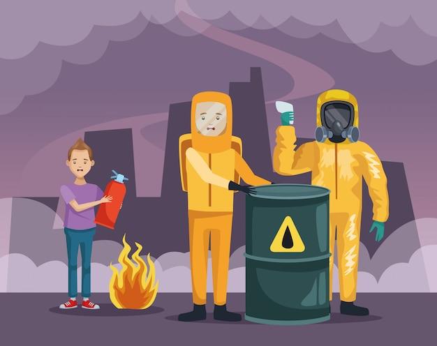 Trabajadores con traje industrial y niño con extintor de incendios