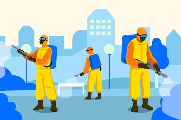 Trabajadores en trajes de materiales peligrosos que desinfectan espacios públicos