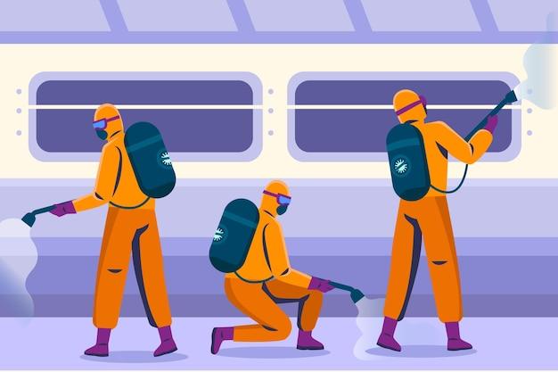Trabajadores en trajes de materiales peligrosos que limpian áreas públicas