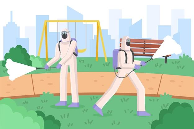 Trabajadores en trajes de materiales peligrosos que limpian espacios públicos