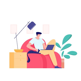 Trabajando en casa, concepto freelance