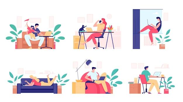 Trabajando en casa, concepto independiente. freelancer femenino y masculino trabajando en la computadora portátil sentado en la habitación, desde casa. ilustración de estilo plano de personas autónomas.