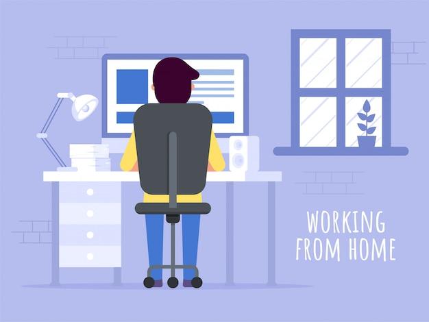 Trabajando desde casa en cuarentena. ilustraciones del concepto de trabajo en casa. gente en casa.