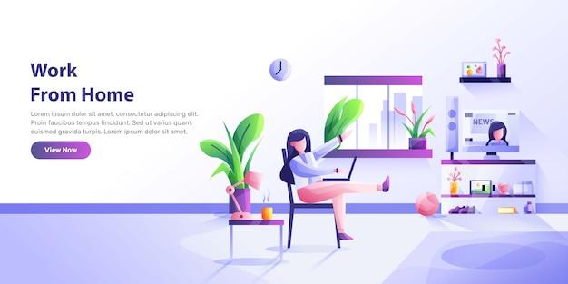 Trabajando en casa, espacio de coworking, ilustración del concepto. jóvenes, hombres y mujeres autónomos que trabajan en portátiles y ordenadores en casa. ilustración de estilo