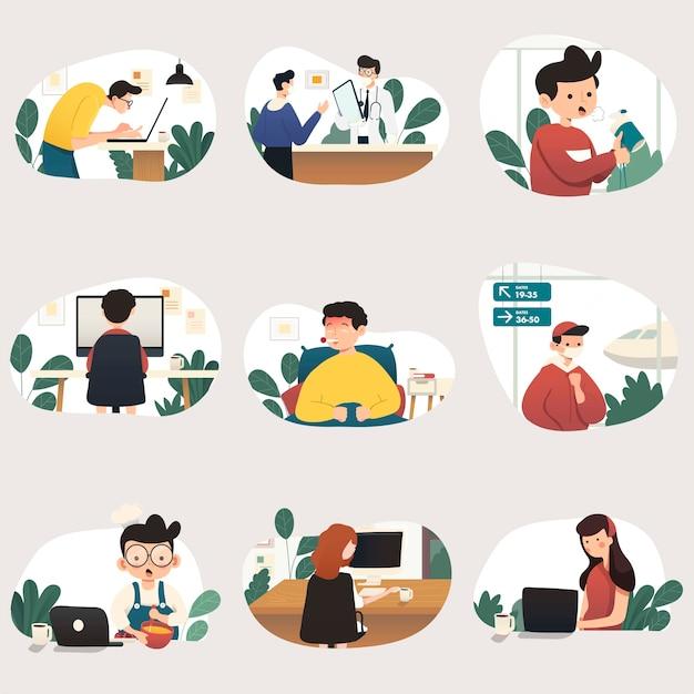 Trabajando en casa, ilustración del concepto. personas independientes que trabajan en computadoras portátiles y computadoras desde casa. ilustraciones de estilo plano.