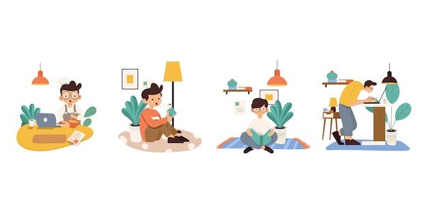 Trabajando en casa, ilustración del concepto. personas independientes que trabajan en portátiles y ordenadores desde casa. estilo plano