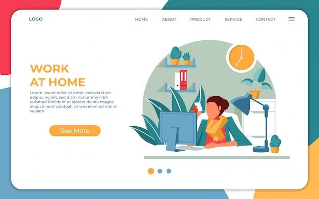 Trabajando desde el concepto de hogar, quédese en casa en cuarentena durante la epidemia de coronavirus. plantilla de diseño de página de aterrizaje web plana moderna. ilustración vectorial