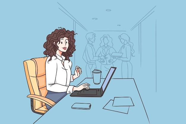Trabajando en concepto de oficina y empresaria