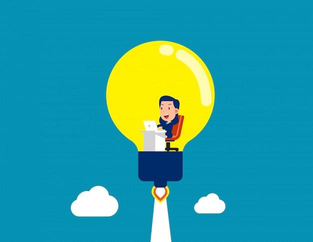 Trabajando dentro de la bombilla. generando la gran idea y el nuevo inicio