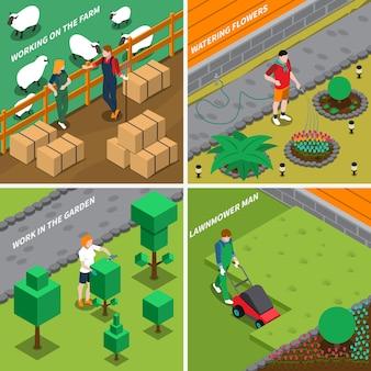 Trabajando en la granja 2x2 design concept