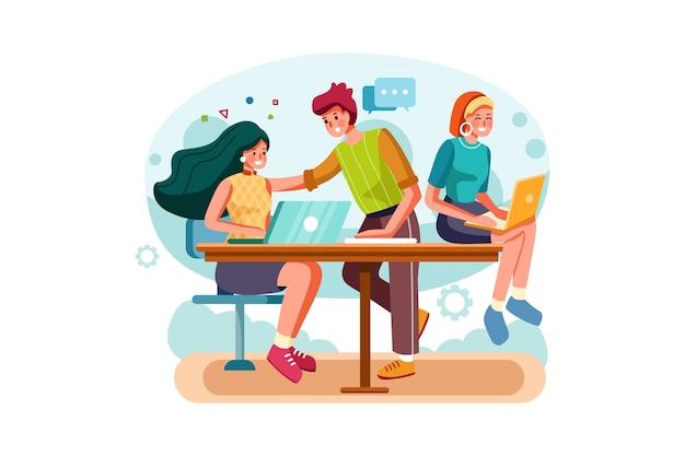 Trabajando juntos ilustración del concepto