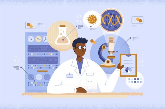 Trabajando en un laboratorio concepto de regreso a la escuela
