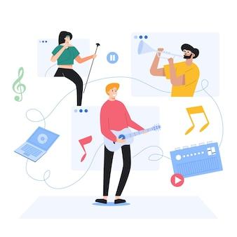 Trabajando en música de músicos, ilustración de estilo de dibujos animados