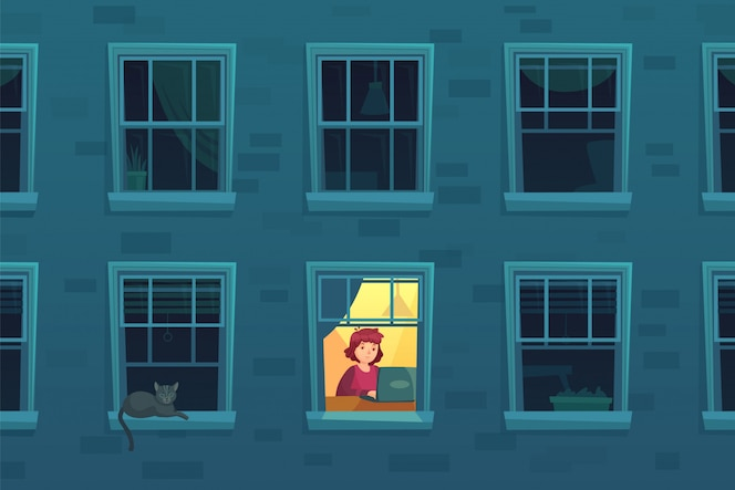 Trabajando de noche. adicto al trabajo ocupado trabaja en casa por las noches cuando los vecinos duermen, hombre solitario en el marco de la ventana ilustración de dibujos animados