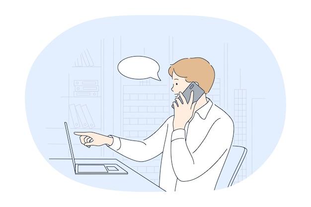 Trabajando en la oficina, trabajador de la empresa moderna, concepto de comunicación en línea.