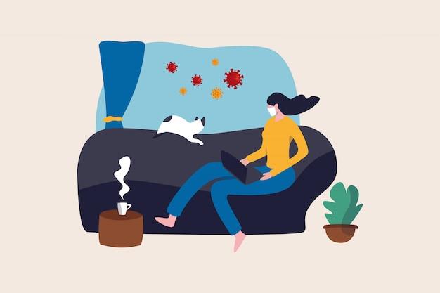 Trabajar desde casa en el brote del virus covid-19, la compañía de distanciamiento social permite a los empleados trabajar en casa para prevenir la infección por virus, una mujer joven que trabaja en el sofá con un gato mira afuera para ver los virus patógenos.