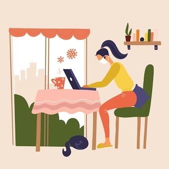 Trabajar desde casa durante el brote del virus covid-19. las personas trabajan en casa para prevenir la infección por virus. mujer que trabaja en la mesa de la cocina cerca de womdow con un gato. la muchacha en máscara trabaja en la computadora portátil en casa.