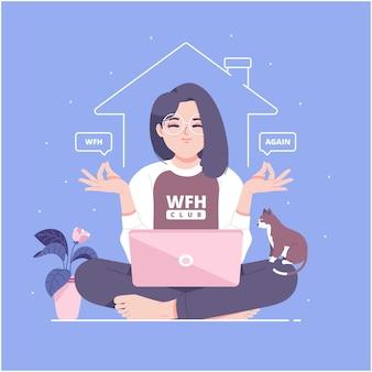 Trabajar desde casa concepto ilustración antecedentes