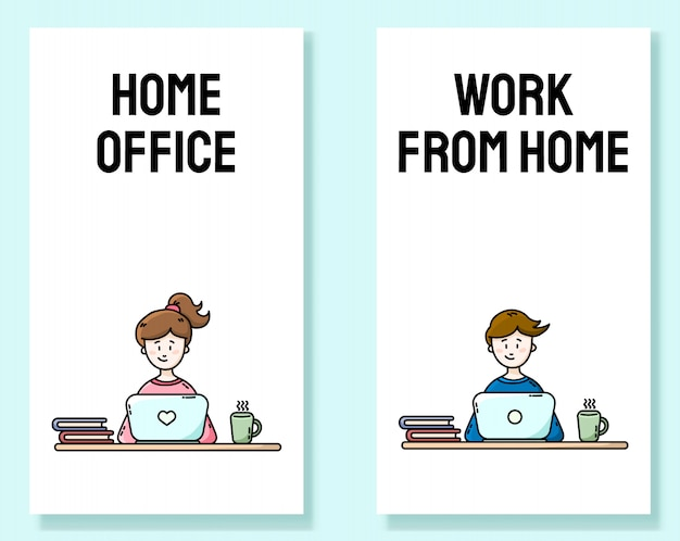 Trabajar desde casa conjunto de banners verticales motivacionales. practicando el autoaislamiento. oficina en casa. millenials sentado frente a la computadora portátil. ilustraciones de dibujos animados de estilo plano