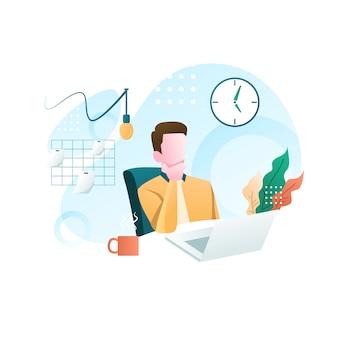 Trabajar desde casa ilustración plana