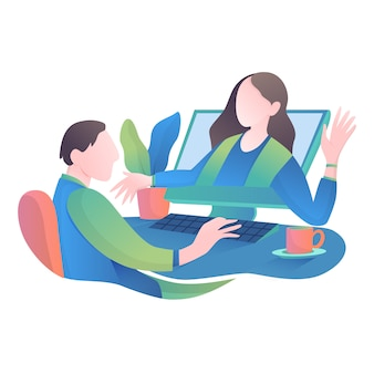 Trabajar desde casa ilustración