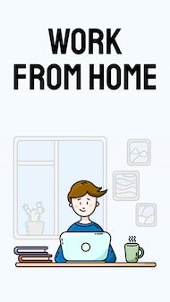 Trabajar desde casa motivacional banner vertical. practicando el autoaislamiento. oficina en casa. joven blogger masculino sentado frente a la computadora portátil. ilustración de dibujos animados de estilo plano