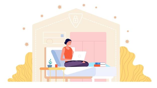 Trabajar desde casa. mujer adulta que trabaja, joven profesional con ordenador portátil. freelancer en período de aislamiento, aprendizaje a distancia para estudiantes
