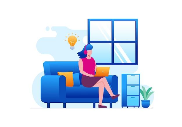 Trabajar desde casa o freelancer ilustración vectorial plana para banner