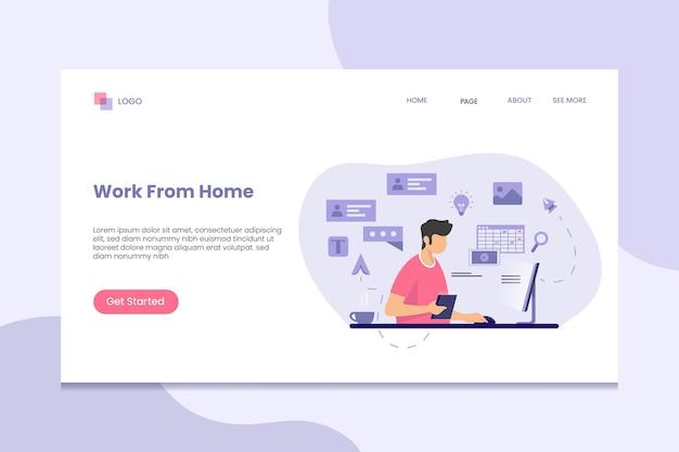 Trabajar desde casa, permanecer en la página de inicio de inicio