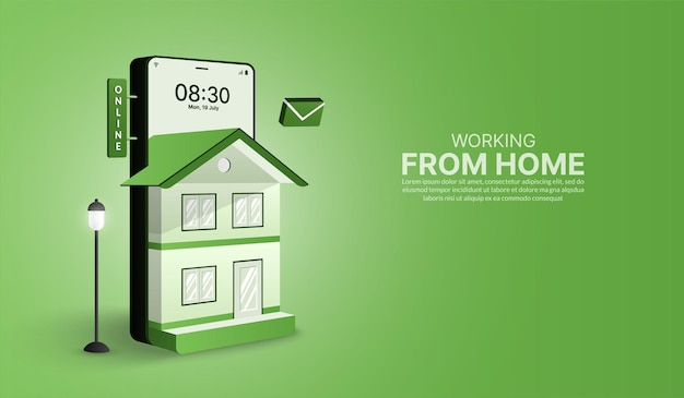 Trabajar desde casa en un teléfono inteligente en forma de hogar trabajo en línea y concepto de distanciamiento social