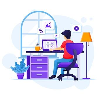 Trabajar desde el concepto de casa, un hombre sentado en el escritorio y trabajar en la computadora portátil. auto cuarentena durante la ilustración de la epidemia de coronavirus